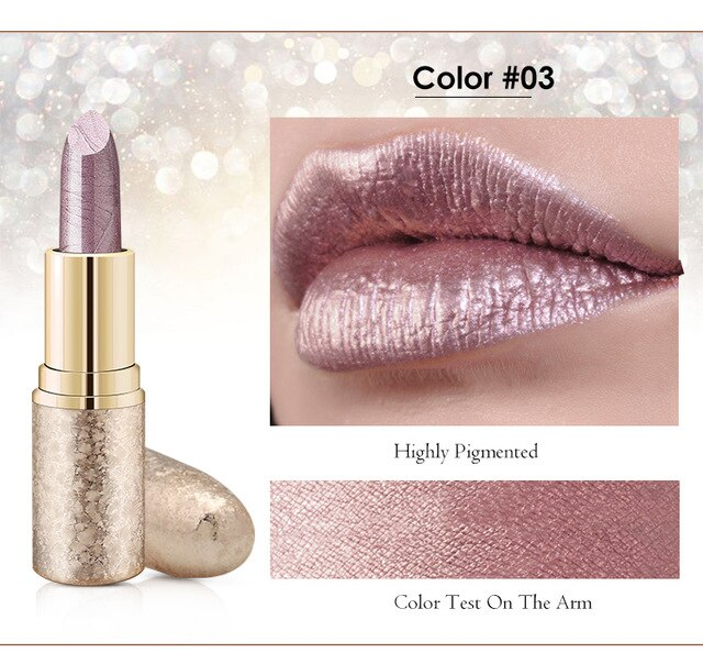 Morixi snow lipstick rose red glitter lip cream long lasting waterproof smooth highly pigmented metallic lipstick Q907