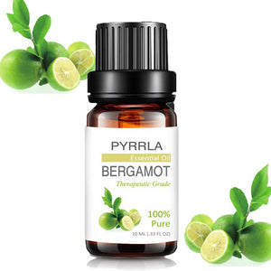 Pyrrla 10ml Bergamot Pure Essential Oils For Aromatherapy Relieve Stress Humidifier Diffuser Aromatic Massage Body Essential Oil