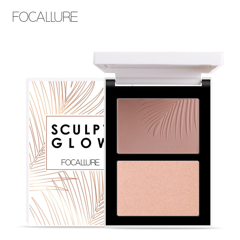 FOCALLURE Double Head 3D Bronzer Highlighter For Face Makeup Stick Cream Texture Contour iluminador Makeup Highlighter Bronzer
