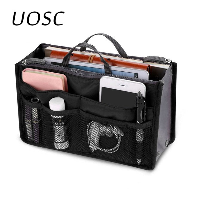 UOSC Organizer Bag Women Nylon Travel Insert Organizer Handbag Purse Large Liner Lady Makeup Cosmetic Bag Cheap Female Tote