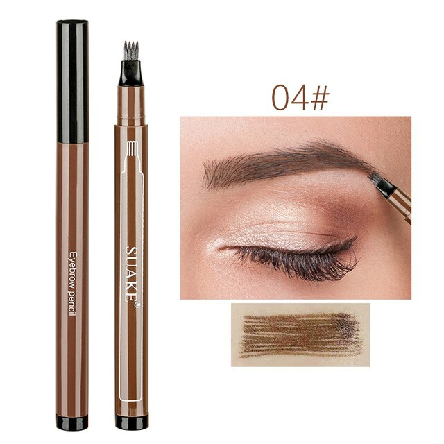 Microblading Tattoo Eyebrow Ink Pen 4 Head Fork Tip Liquid Eye Brow Pencil Waterproof Long-lasting Natural Makeup Tools TSLM1