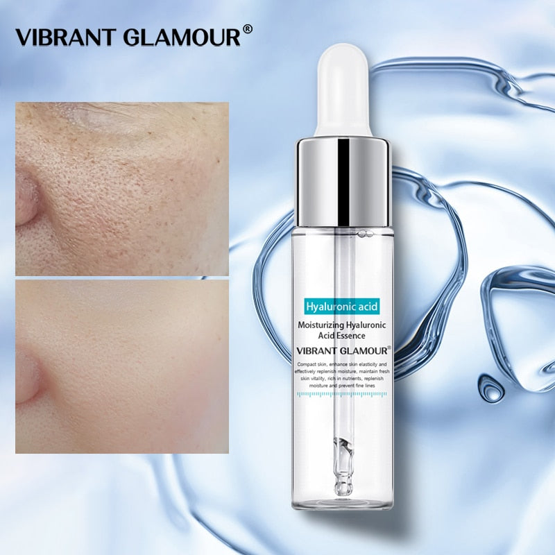 VIBRANT GLAMOUR Hyaluronic Acid Face Serum Anti-Aging Shrink Pore Whitening Moisturizing Essence Face Cream Dry Skin Care 15ml