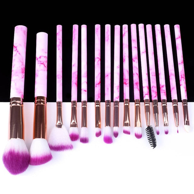 5/10/15pcs Marble Makeup Brushes Tool Natural Brush Set Kit Professional Powder Small High Quality Highlighter Lip Eyeshadow