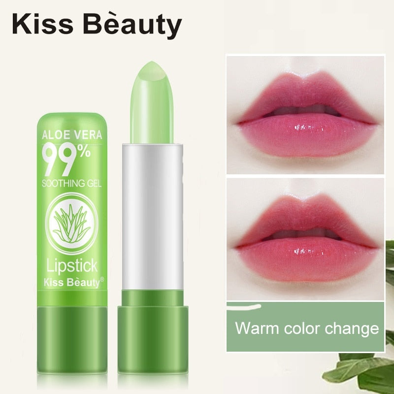 Natural Aloe Vera  Moisture Lip Balm Temperature Change Color Red  Lipstick Long Lasting Moisturizing Not Easy to Fade TSLM2