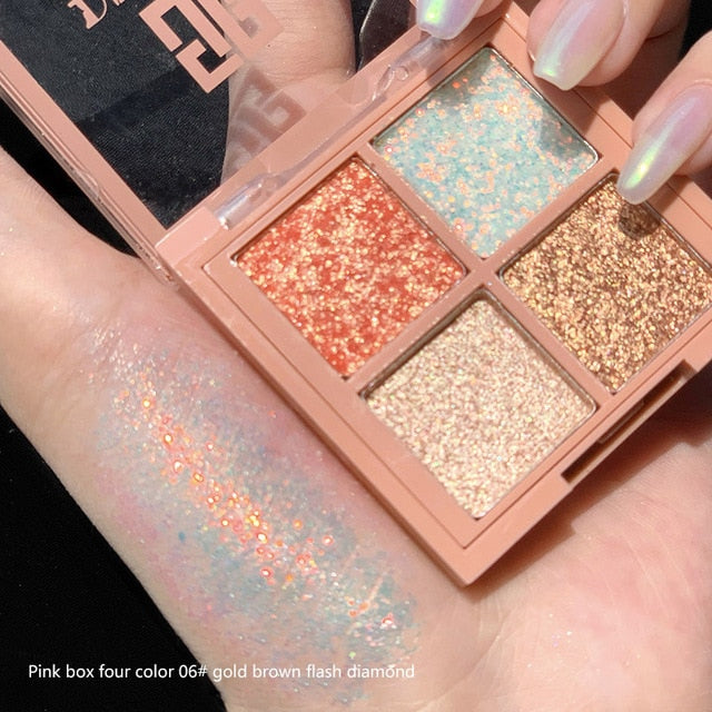 4 Colors Glitter Eyeshadow Pallete Matte Shimmer Eye Shadow Palette Shine Diamond Eyeshadow Powder Pigment Cosmetics TSLM1