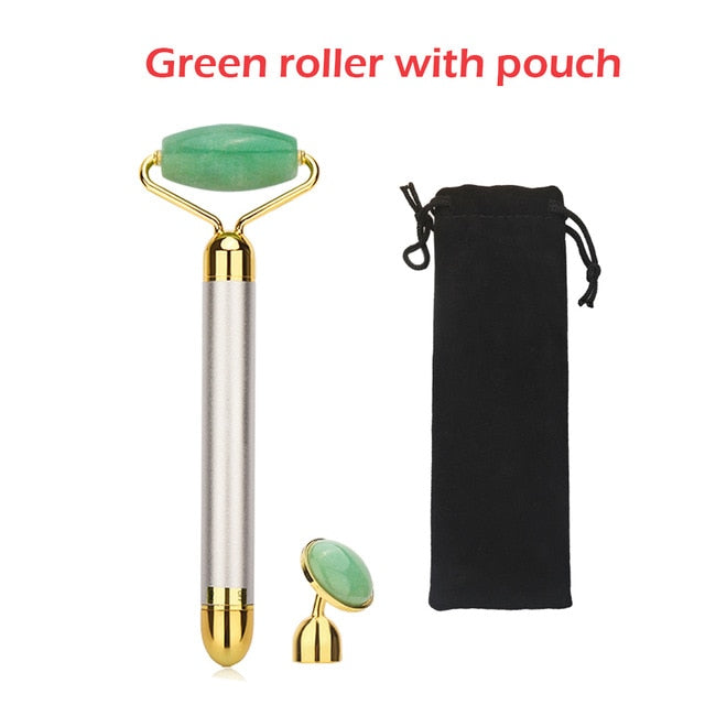 Electric Vibrating Jade Roller Natural Rose Quartz Crystal Stone Facial Jade Massager Derma Roller Skincare Tool Wrinkle Removal