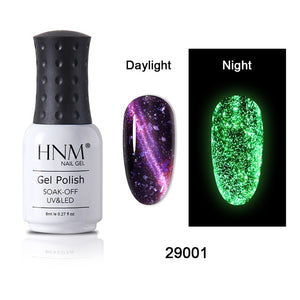 HNM 8ML Luminous 3D Cat Eye Gel Nail Polish UV LED Soak Off Fluorescent Varnish Primer Long Lasting Glow In Dark Gel Polish