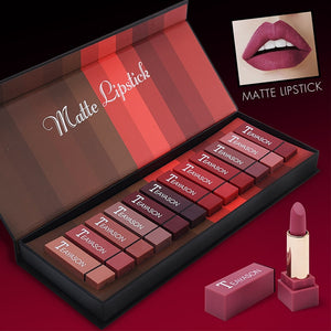 Women's Fashion 12pcs Ultra Velvet Matte Lipstick Set Sexy Lipstick Waterproof Long Lasting Lips Contour Beauty Cosmetic Kit
