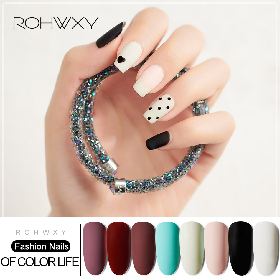 ROHWXY 15ML Nail Polish Color Lacquer Matt Top Coat Nail Gel Polish Gel Varnish Hybrid Soak Off UV Gel Nail Polish For Nail Art