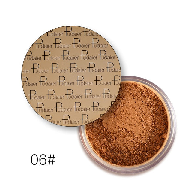 Pudaier Brighten Oil Control Mineral Matte Loose Powder Concealer Setting Face Foundation Powder For Dark Skin Makeup Cosmetics