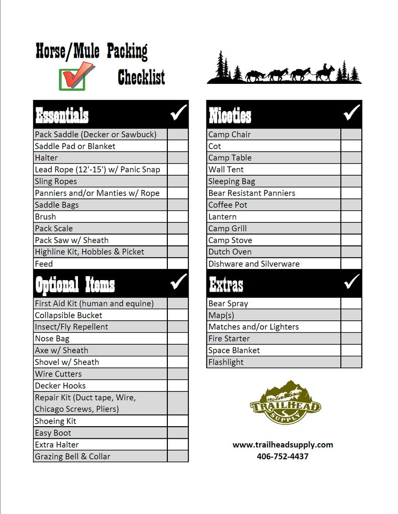 For a printer friendly version of the checklist click here.