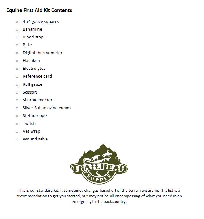 photo about First Aid Cards Printable named Very first Assistance Package- Equine, The Record Trailhead Deliver