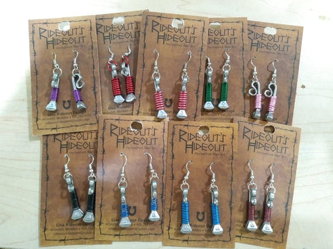 Horse Shoe Nail Earrings w/ Wrapped Wire Assorted Colors