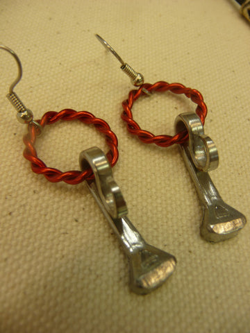 Large Wire Circle Horse Shoe Nail Earrings Red