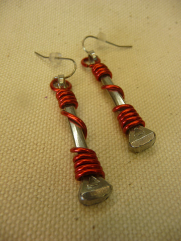 Horse Shoe Nail Earrings w/ Long Wrapped Wire Assorted Colors