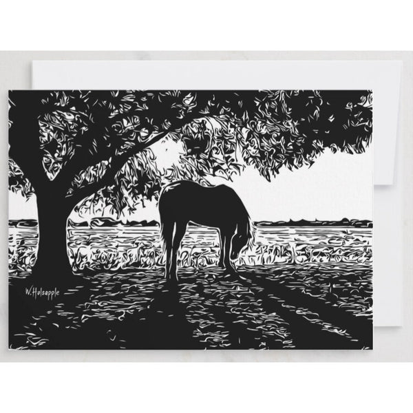 """Bubbles"" Horse Grazing Notecard"