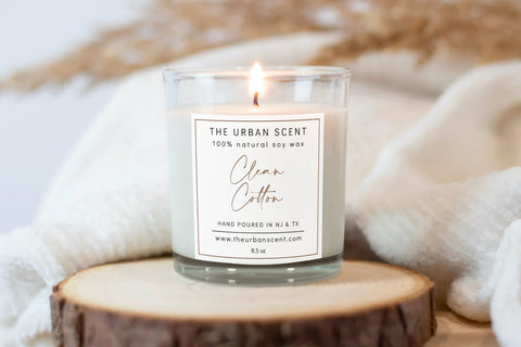 The Urban Scent Clean Cotton Candle - Soy Candle Care
