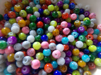 500 pc Mixed Color Mottled Glass Beads 4mm