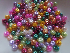 200 pc Mix Abacus Pearly Glass Beads