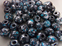 50 pc Blue Gray Paint Splashed Beads 8mm