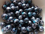 100 pc Blue Gray Paint Splashed Beads 8mm
