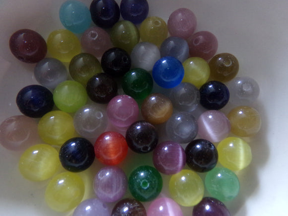 Mixed Color Cat's Eye Glass Beads 8mm