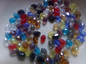 100 pc Mixed AB Color Drop Glass Beads
