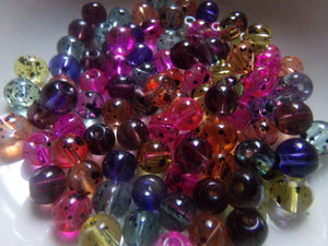 100 pc Mixed Black Spotted Glass Beads 6mm