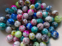 100 pc Mixed Paint Splash Glass Beads 8mm
