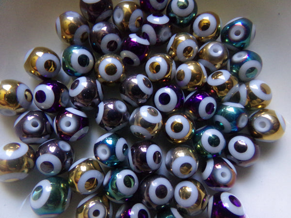 50 pc Mixed Color Evil Eye Glass Beads