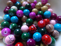 100 pc Mixed Scribbled Glass Beads 8mm