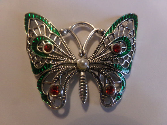 Red & Green Enamel Butterfly Pendant