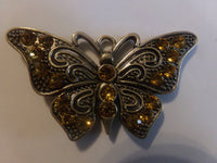 Light Topaz/Yellow Rhinestone Butterfly Pendant