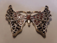 Pink Color Rhinestone Butterfly Pendant