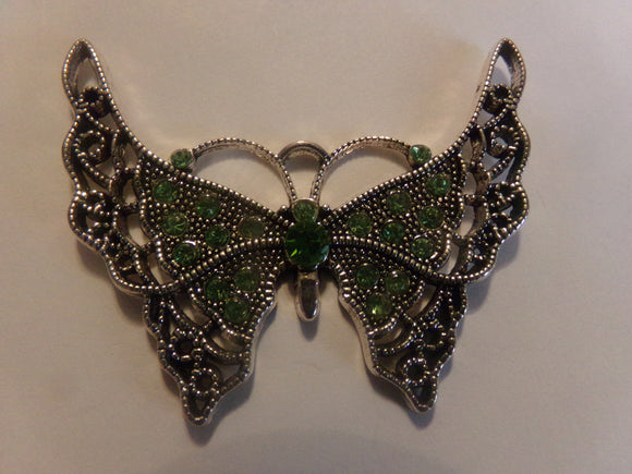 Green Color Rhinestone Butterfly Pendant