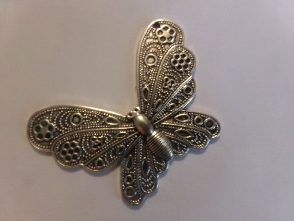 Antique Silver Plated Butterfly Pendant