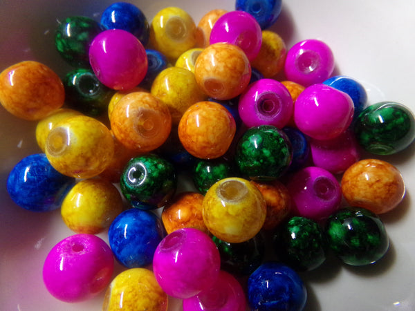 50 pc Mixed Mottled Glass Beads 10mm