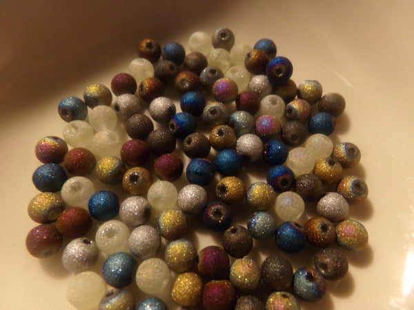 100 pc Mixed Stardust Glass Beads 4mm