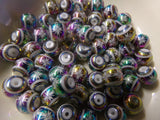 50 pc Multicolor Flower Pattern Glass Beads