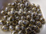 50 pc Gold Color Flower Pattern Glass Beads