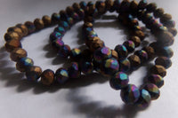 1 Strand Matte Multicolor Rondelle Glass Beads