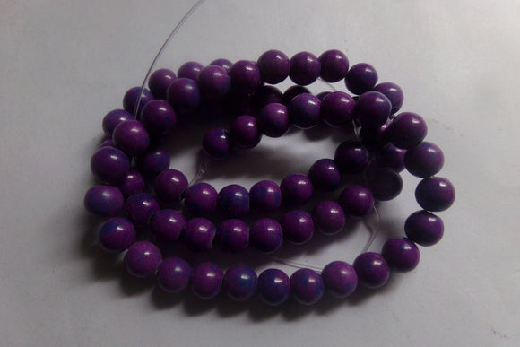 1 Strand Dyed Purple Howlite Beads 6mm