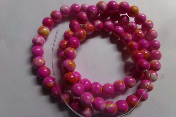 1 Strand Dyed Pink Howlite Beads 6mm