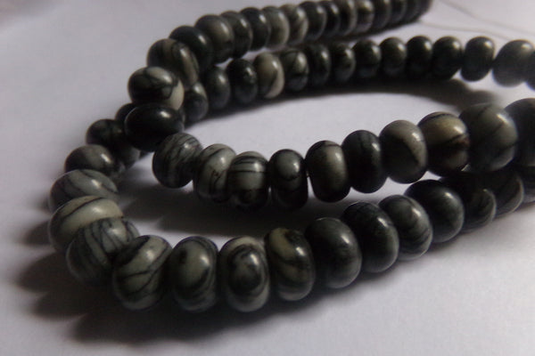 1 Strand Black Silk Stone Netstone 8x5mm