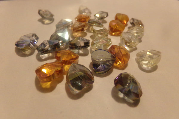 25 pc Mixed AB Heart Shape Glass Beads