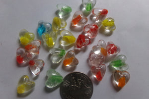 Mixed Color Heart Glass Beads