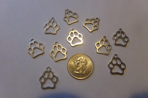 10 pc Antique Silver Paw Print Charms