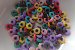 100 pc Mixed Color Flat Round Beads
