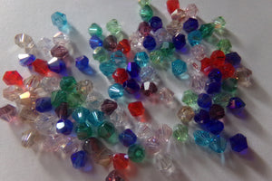100 pc Mixed AB Color Plated Bicone Glass Beads