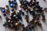 100 pc Mixed Rainbow Plated Electroplate Bicone Glass Beads
